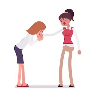 Hand kussgeste der weiblichen angestellten