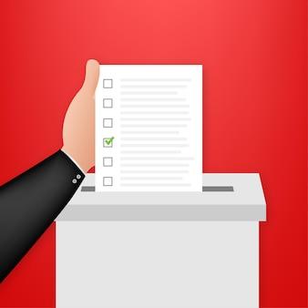 Hand legt abstimmungsbulletin in abstimmungsbox. abstimmungskonzept. wahlurne. vektorgrafik auf lager.