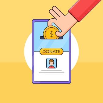 Hand legte geldmünze in eine smartphone-app-charity-box-illustration für online-spenden-spenden-human-care-konzeptdesign