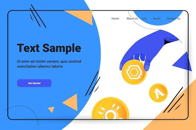 Hand-mining virtueller geldmünzen kryptowährungswechsel bankgeschäft digitales währungskonzept horizontale kopienraum-vektorillustration