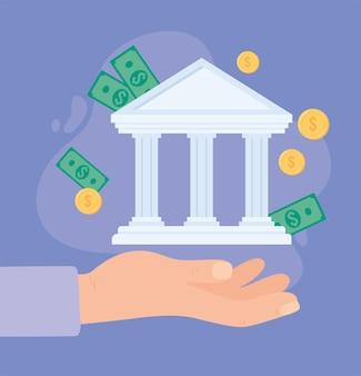 Hand mit bank und geld