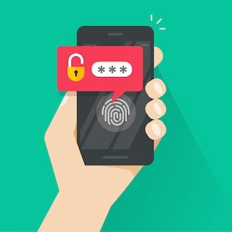 Hand mit dem smartphone entriegelt mit fingerabdruckknopf- und -kennwortbenachrichtigung