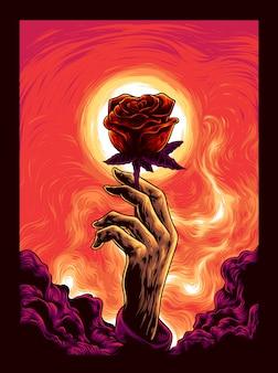 Hand mit der rosenillustration