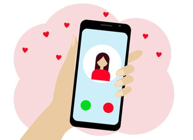 Hand mit einem handy. auf dem telefon befindet sich ein mädchensymbol. chat oder online-anruf
