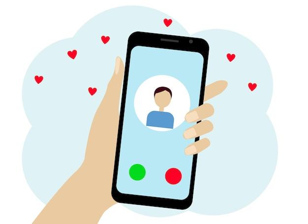 Hand mit einem handy. auf dem telefon befindet sich ein typensymbol. chat oder online-anruf