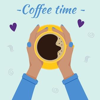 Hand mit einer kaffeetasse. koffein-konzept. flache vektorillustration.