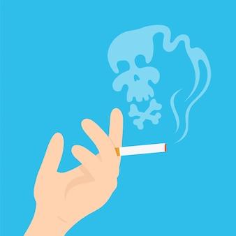 Hand mit einer zigarette. moderne flache artkarikaturcharakterillustration. auf blauem hintergrund isoliert. hand mit einer zigarette, rauchen töten, schädel rauchen