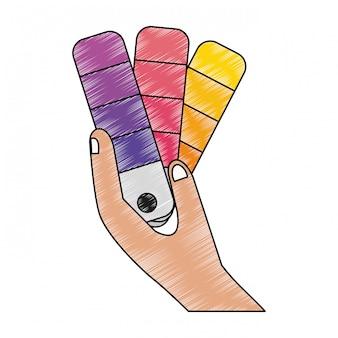 Hand mit farbenpalette gekritzel
