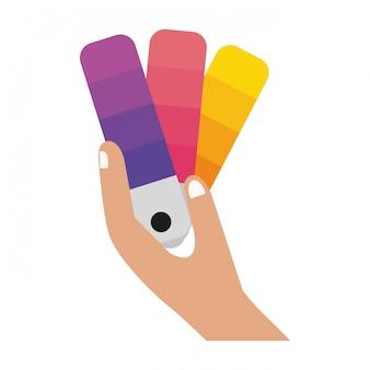 Hand mit farbenpalette