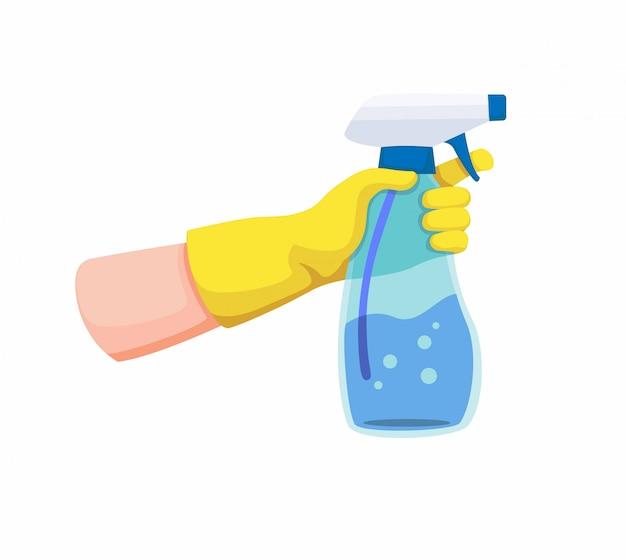 Hand mit gelbem handschuh, der die transparente plastikflasche zum sprühen oder reinigen hält. karikaturillustration auf weißem hintergrund