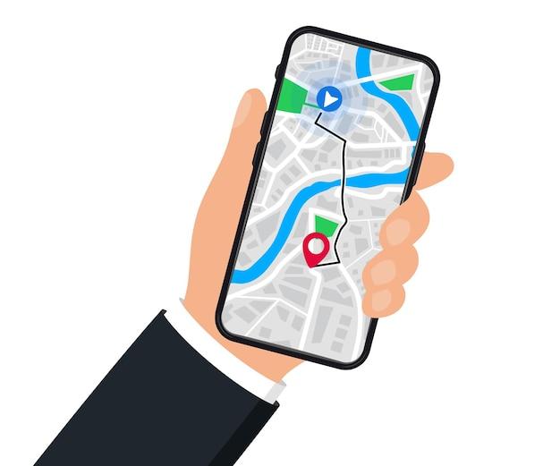 Hand mit handy mit digitaler navigation. karte mit punkt, gps-navigation. mobile gps-navigations-app auf touchscreen-smartphone für websites, banner. weltkarte