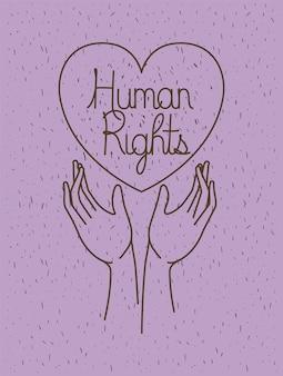 Hand mit herz gezeichneten menschenrechten