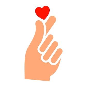 Hand mit herz neues symbol, zweifarbige silhouette