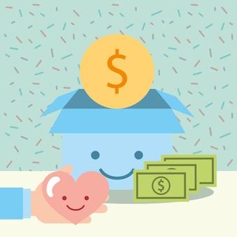 Hand mit herz und kawaii boxgeld spenden wohltätigkeit