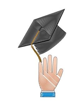 Hand mit hut-abschlussvektor-illustrationsdesign