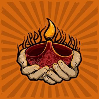 Hand mit kerze für diwali feiern