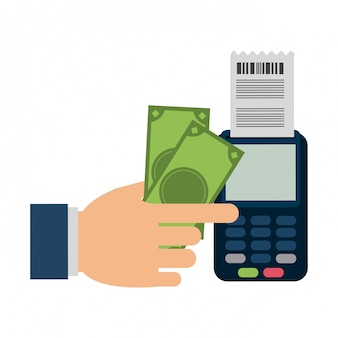 Hand mit kreditkartenleser