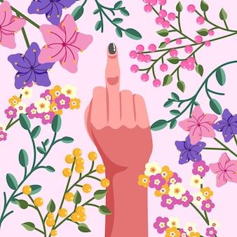 Hand mit lackiertem nagel zeigt mittelfinger