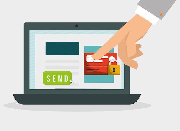 Hand mit laptop zahlung vorhängeschloss sicherheit