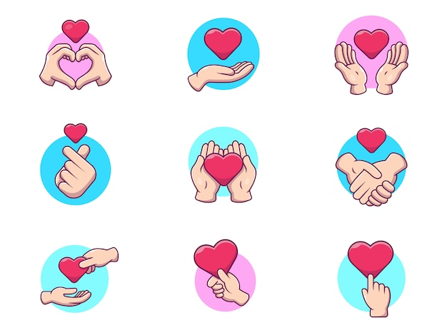 Hand mit liebes-vektor-ikonen-illustration. liebe symbol geste
