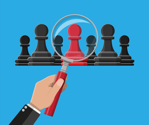 Hand mit lupe wählt roten einzigartigen schachbauern, der unter den gleichen gary steht. menschliche vielfalt, einzigartigkeit und individualität. konzept des unterschieds. illustration im flachen stil