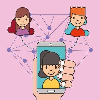 Hand mit mobilen mädchen auf dem bildschirm teilen menschen social media
