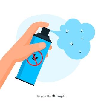 Hand mit mückenspray