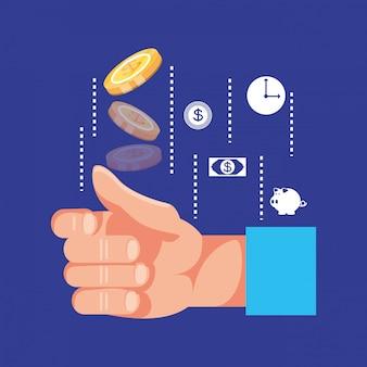 Hand mit münzendollar und eingestellter ikonenwirtschaftsfinanzierung