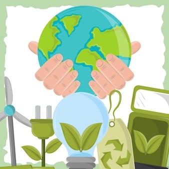 Hand mit ökologischer welt