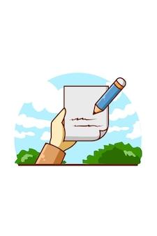 Hand mit papier- und bleistiftkarikaturillustration