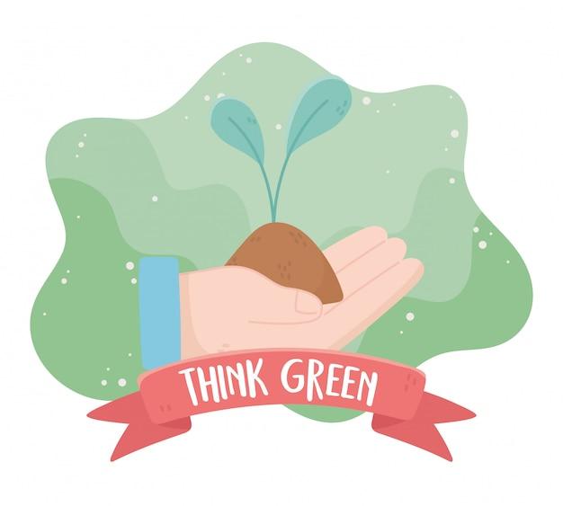 Hand mit pflanze denken grüne umweltökologie