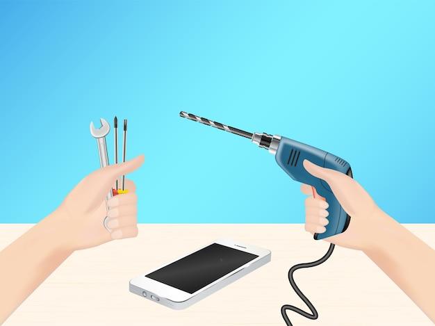 Hand mit reparatur-tool und bohrmaschine, um smartphone zu hacken