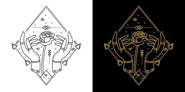 Hand mit rosenblume geometrische tätowierung monoline design