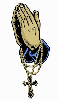 Hand mit rosenkranz betendes kreuz