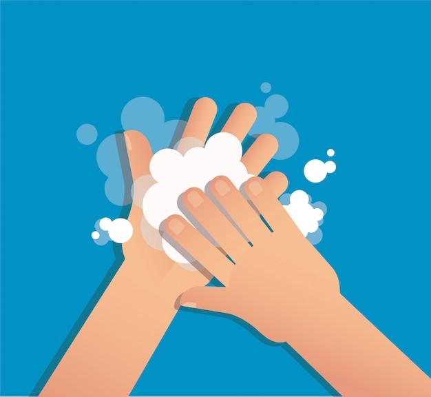 Hand mit seife waschen