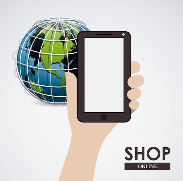 Hand mit smartphone und erdkugel, kaufen on-line-konzept