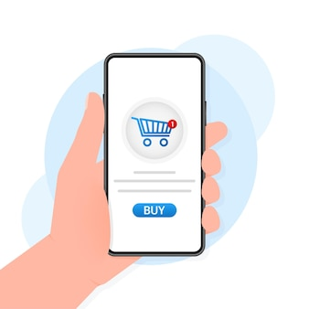 Hand mit smartphone und kaufen zeichen auf dem bildschirm