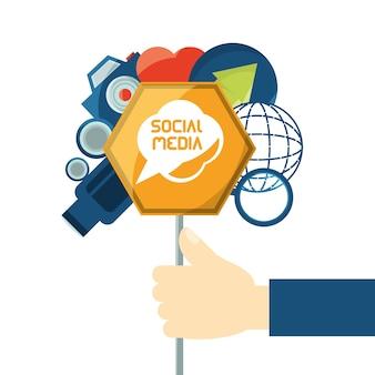 Hand mit social media verwandten icons