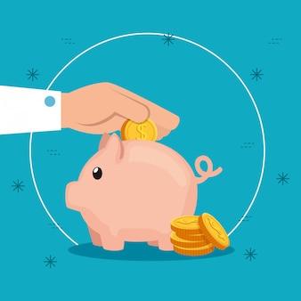 Hand mit sparschwein und münzen