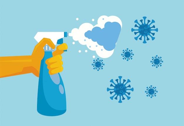 Hand mit spritzwasser sprühflasche desinfektionssymbol