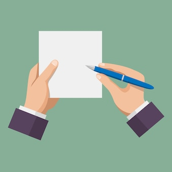 Hand mit stiftschreiben auf papier