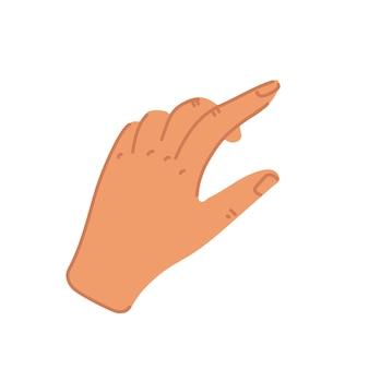Hand mit streichendem zeigefinger im flachen stil