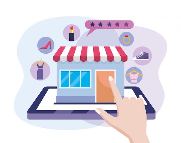 Hand mit tablet-technologie und digitalem markt zum online-shopping
