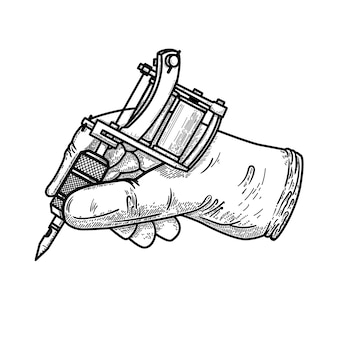 Hand mit tätowiermaschine. element für plakat, karte, t-shirt, emblem, zeichen. illustration