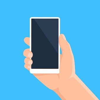 Hand mit telefon mann, der smartphone mit leerem bildschirm hält. handymodell zur bewerbung