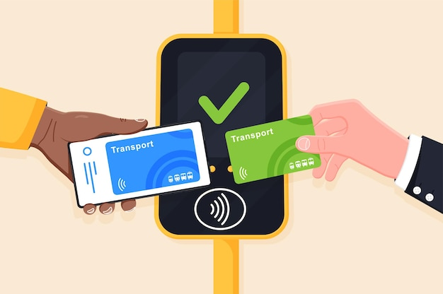 Hand mit transportkarte und telefon in der nähe des terminals