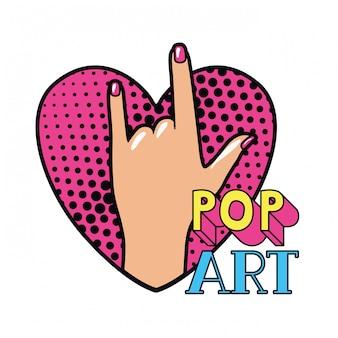 Hand mit zeichen rock-pop-art