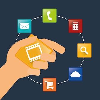Hand mobile apps design