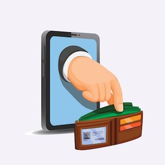 Hand nehmen geld auf brieftasche vom telefon. internet-betrüger und finanzkonzept im cartoon lokalisiert im weißen hintergrund