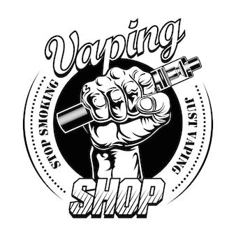 Hand pf vaper vektorillustration. männliche hand, die elektronische zigarette hält, text aufhört zu rauchen, stempel